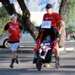 My Team Triumph Captain Lucas King and his father, Steve King, charge to the finish line